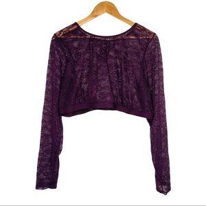 Torrid Maroon Lace Long Sleeve Crop Top